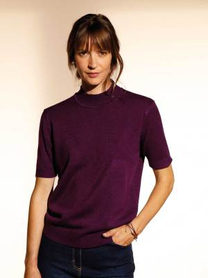 Le pull col montant manches courtes prune