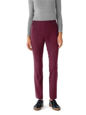 Le pantalon effet ventre plat, maille unie bordeaux