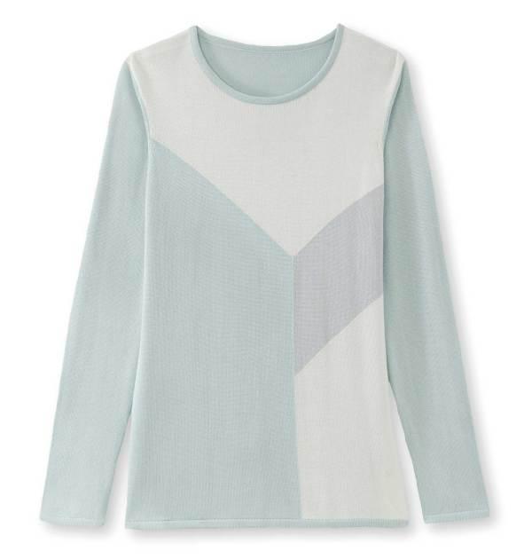 Pull motif géométrique vert