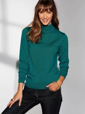 Pull col montant en laine 50% mérinos vert