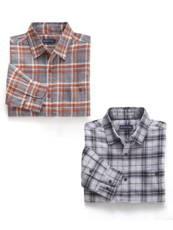 Le lot de 2 chemises chaudes en flanelle à carreaux
