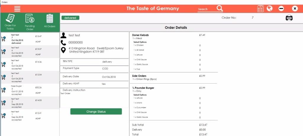 online order food software