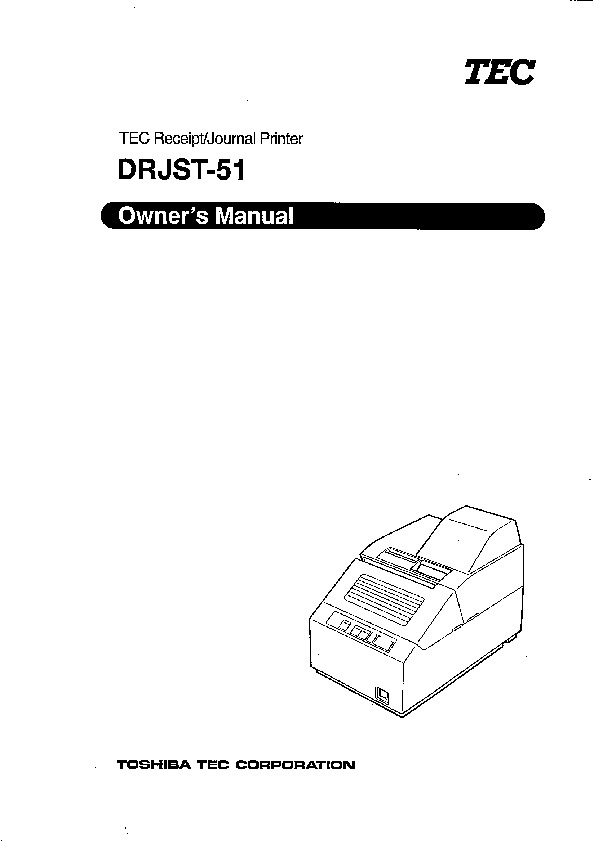 Toshiba TEC DRJST-51 Receipt Journal Printer Owners Manual