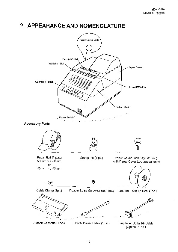 Toshiba TEC DRJST-51 Receipt Journal Printer Owners Manual
