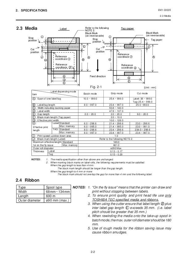 Toshiba TEC B-570-QQ Thermal Printer Owners Manual