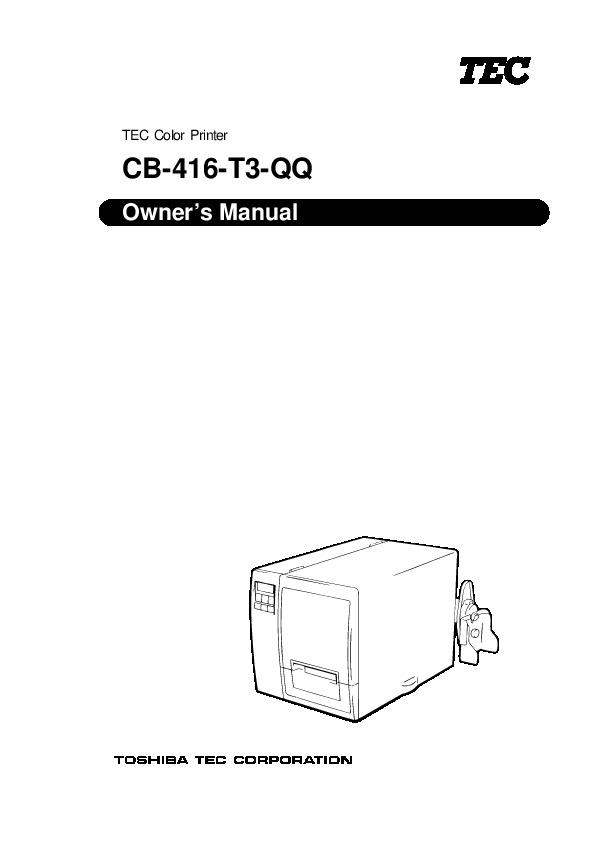 Toshiba TEC CB-416-T3-QQ Color Printer Owners Manual