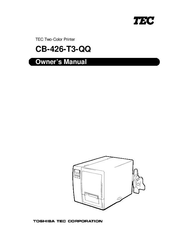 Toshiba TEC CB-426-T3-QQ Two Color Printer Owners Manual