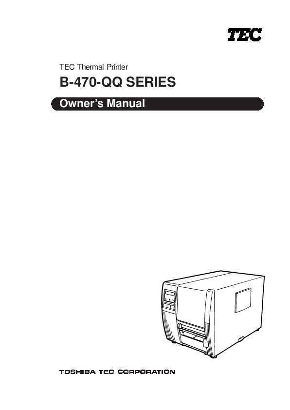 Toshiba TEC B-470-QQ Printer Owners Manual