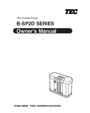 Toshiba TEC B-SP2D Portable Printer Owners Manual