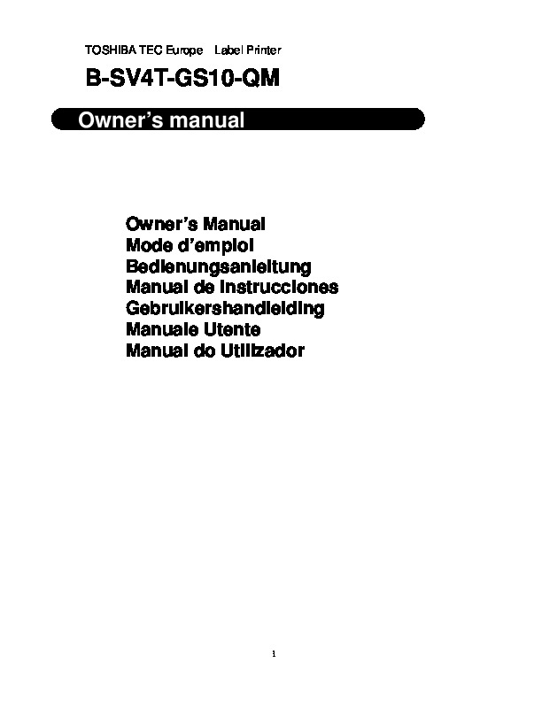 Toshiba TEC B-SV4T-GS10-QM Label Printer Owners Manual