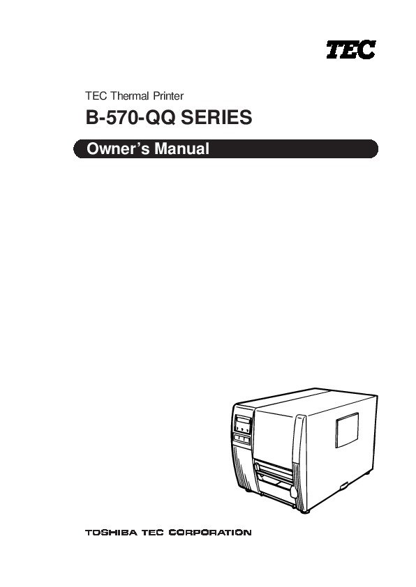 Toshiba TEC B-570-QQ Thermal Printer Owners Manual