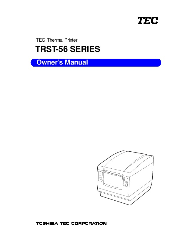 Toshiba TEC TRST-56 Thermal Printer Owners Manual