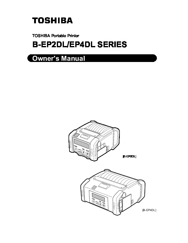 Toshiba TEC B-EP2DL B-EP4DL Portable Printer Owners Manual