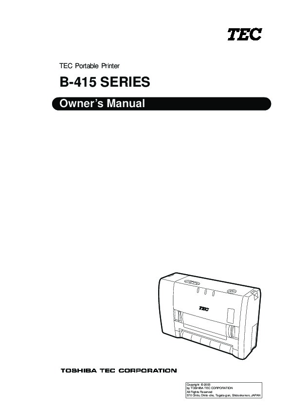 Toshiba TEC B-415 Printer Owners Manual