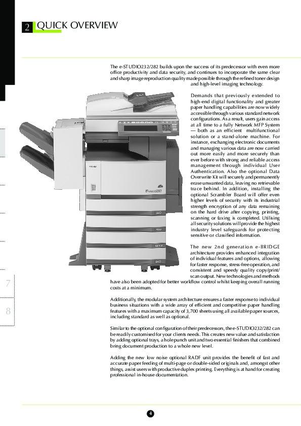 Toshiba E-Studio 232 282 Printer Copier Owners Manual