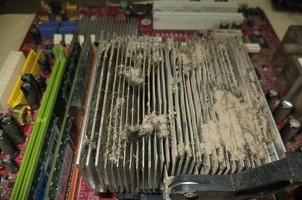 пыль под кулером процессора