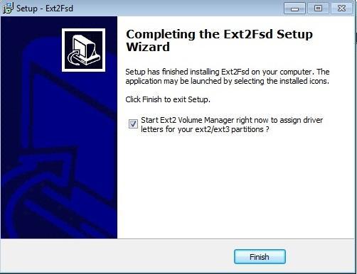 запуск программы ext2fsd