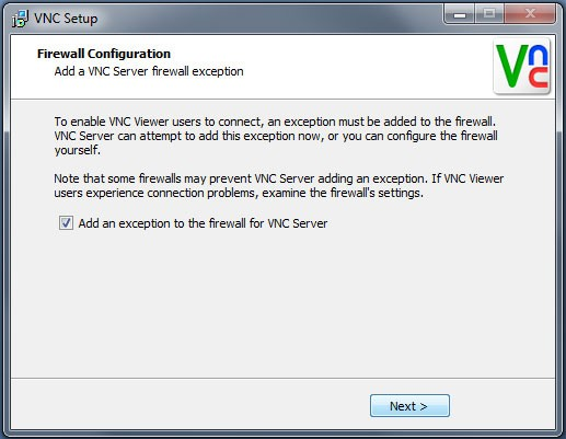 VNC firewall configuration