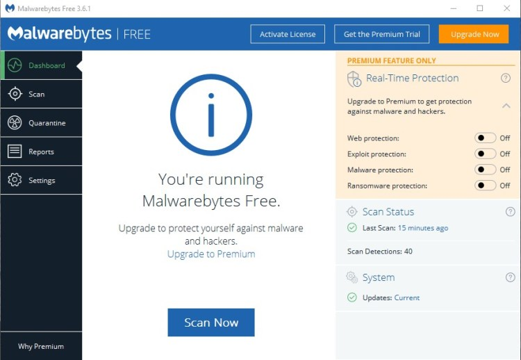 Malwarebytes main dashboard lets you scan and remove malware from your PC.