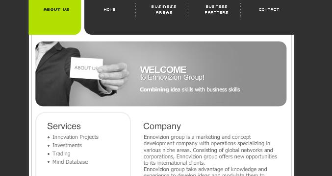 ennovizion webdesign flash green logo menu black gray innovate