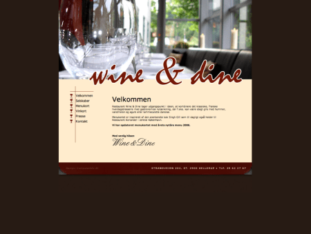 webdesign Wine and dine website