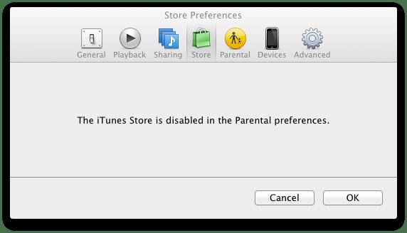 Panneau «iTunes Store»