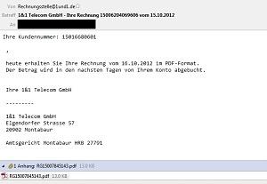 1&1 Telecom GmbH Gefälschte Rechnungen mit Trojaner