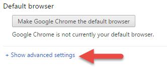 chrome show advanced settings
