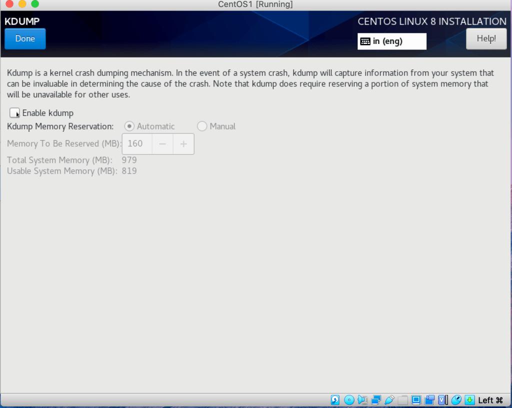 Screen6-Kdump disable
