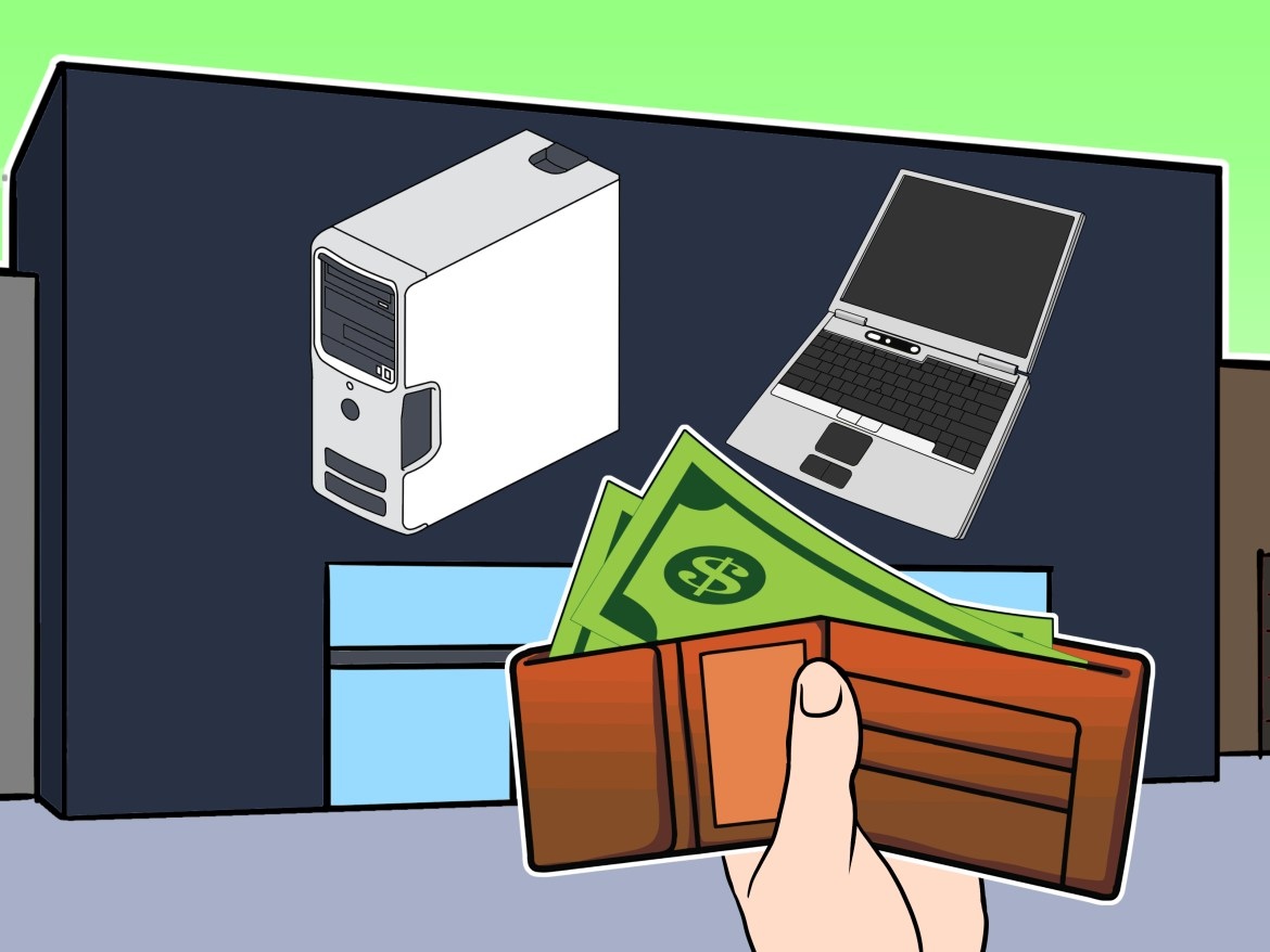 an illustration of purchasing a computer or a laptop