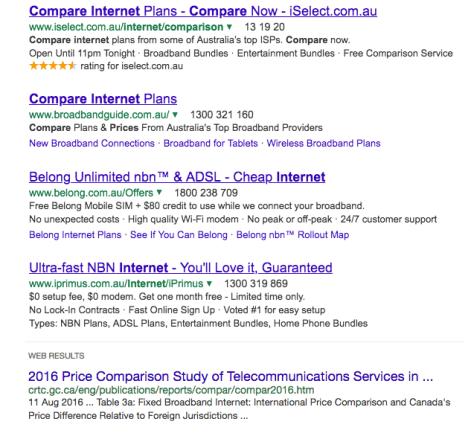 comparing internet plans