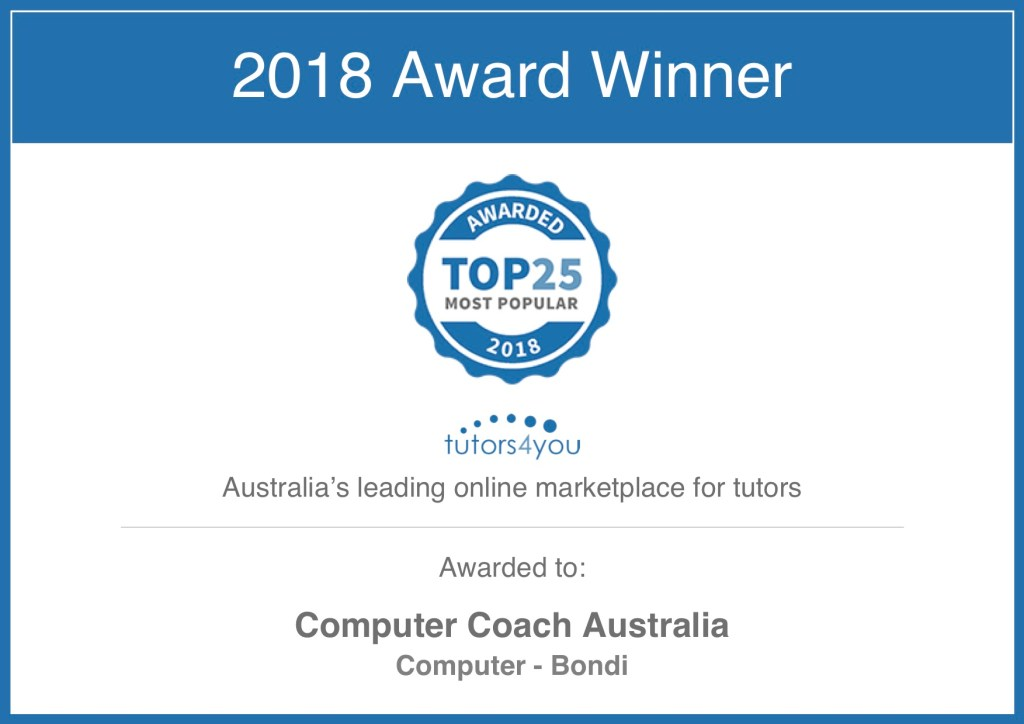 award for computer tutor to computer coach australia