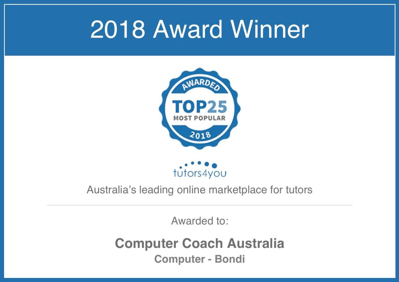 award for computer tutor to computer coach australia