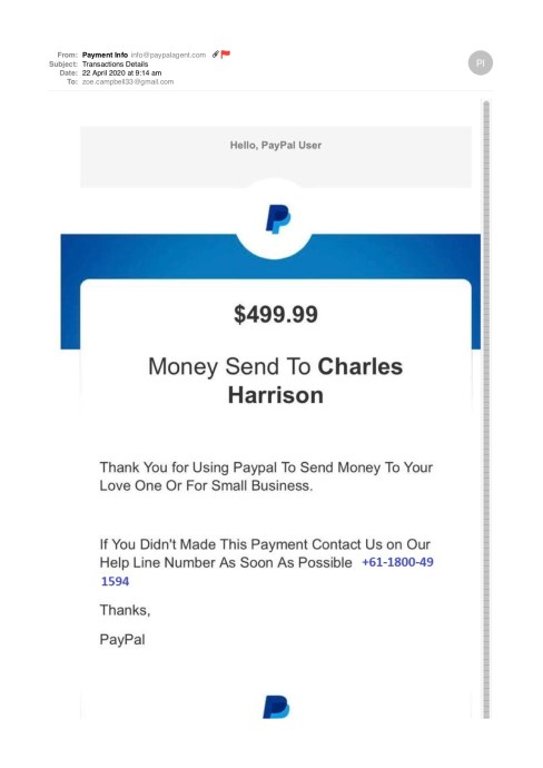 Paypal scam example