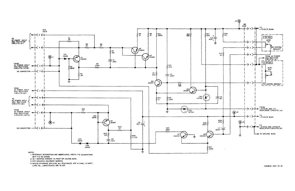 medium resolution of 15 volt power supply regulator circuits assembly a15 pc 80034160 schematic diagram
