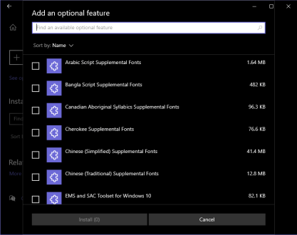 optional features windows 2004 update