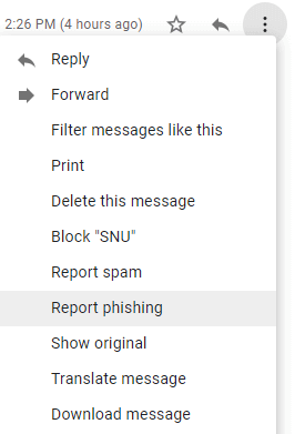 report phishing in gmail