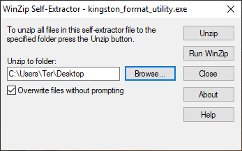 Restaurando unidades flash usando o utilitário de formato Kingston