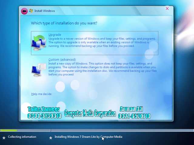 Windows 7 Dream Installation Sceeen