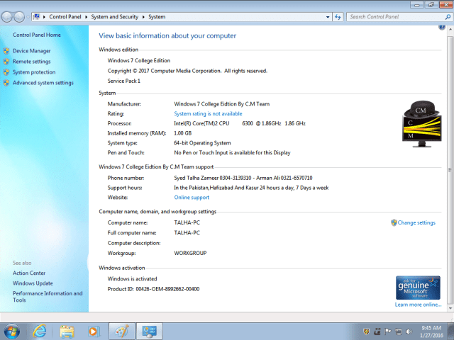 Windows 7 College Edition Lite Computer Setup 64 Bit By C.M Team