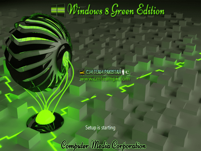 Windows 8 Green Edition 2017 By C.M Team Setup Screen