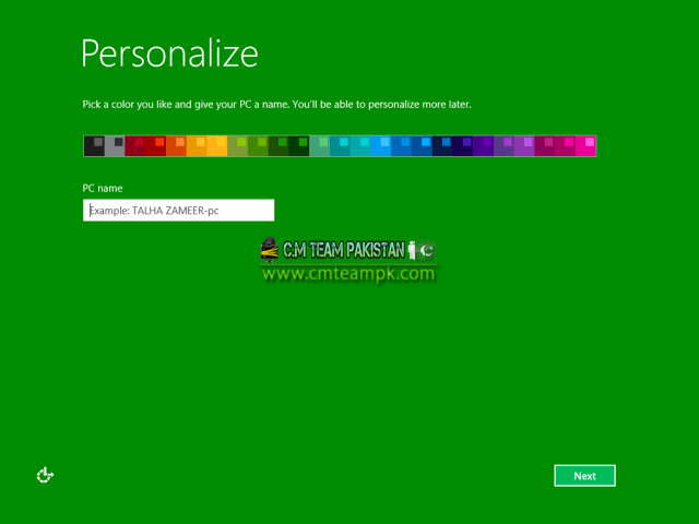 Windows 8 Green Edition 2017 By C.M Team User Screen