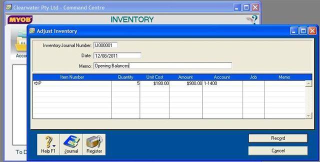 Inventory Adjustment Balances in MYOB