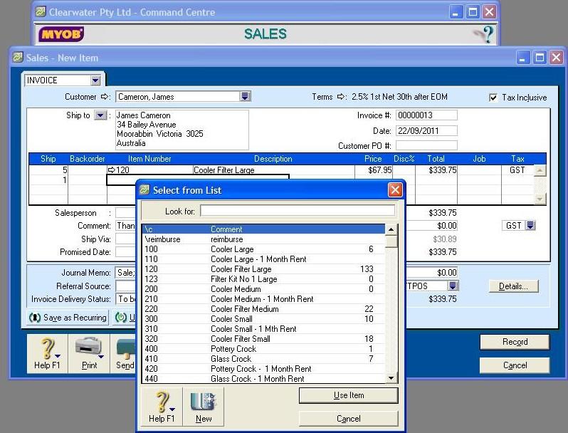 502104 sales enter items in MYOB
