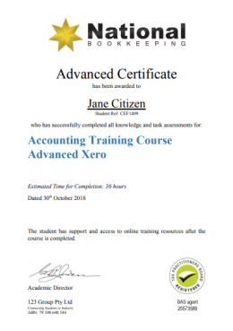 Xero Advanced Certificate from National Bookkeeping