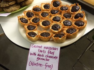 Gluten-free doesn't mean it's not amazing: Dark chocolate ganache filling in coconut macaroon tart shells
