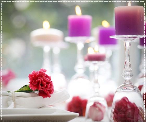 Decoração-com-flores-e-velas-