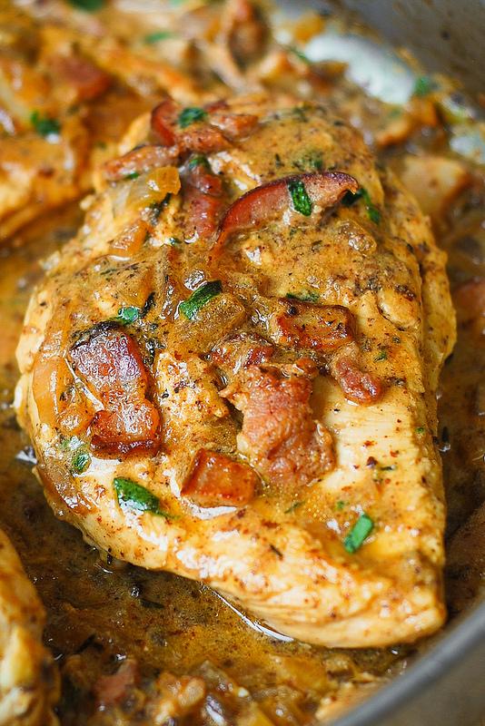 frango com molho de mostarda e bacon