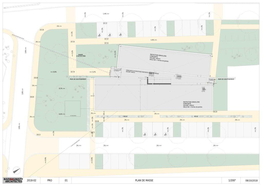 Plan de masse de la maison de santé de Bozouls