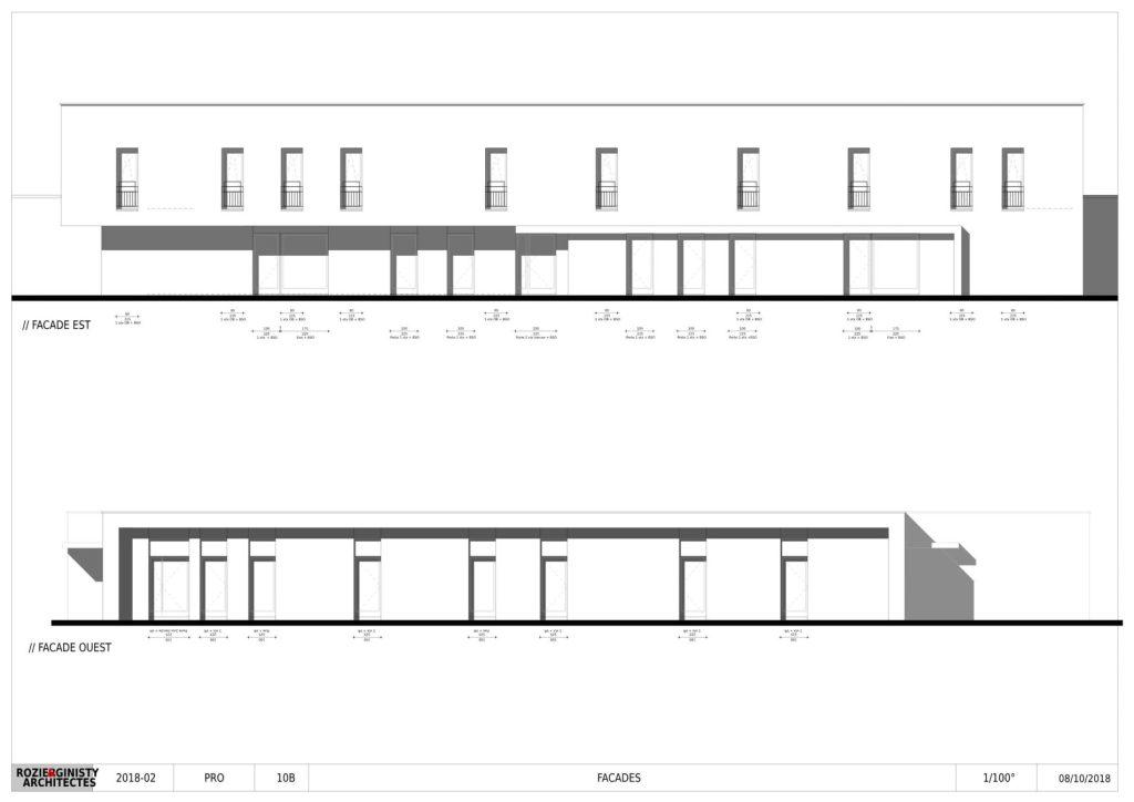 Plan des façades est et ouest maison de santé bozouls